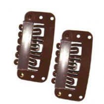 Hair Clips - Brown Large x2